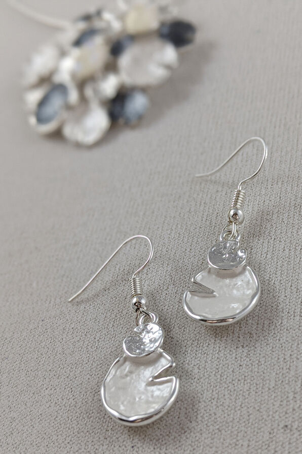 Lily Pads Necklace and Earrings Set, White, original image number 1