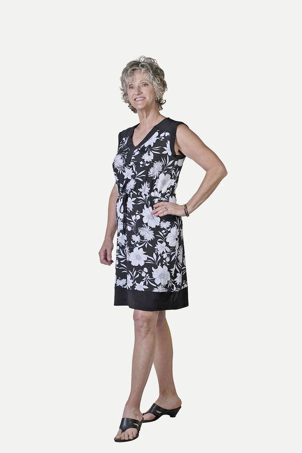 Sleeveless Knee Length Dress with Drawstring Waist, Black, original image number 0