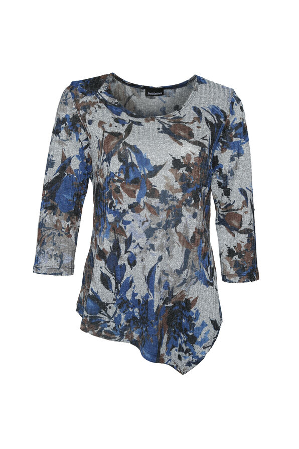 Marie Ribbed Floral Print Top, Denim, original image number 0