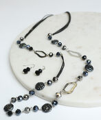 Navy Beaded Fashion Necklace Set , Silver, original image number 1