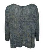 Golden Shimmer Animal Print Long Sleeve Top, Olive, original image number 1