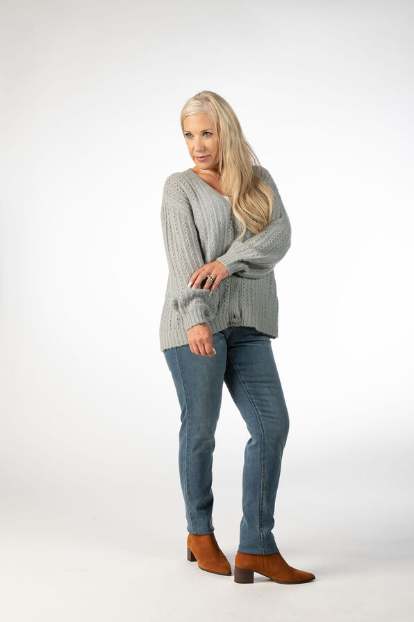 Pointelle Button Up Wool Cardigan, Blue, original image number 0