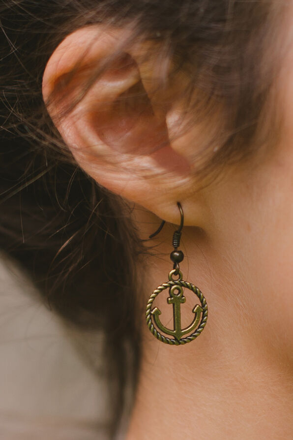 Rope Anchor Earring, Gold, original image number 1