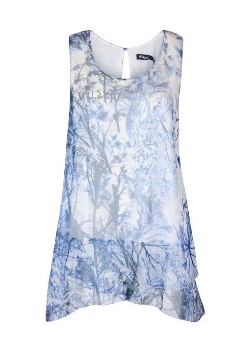 Sleeveless Chiffon Blouse with Keyhole Back, Blue, original