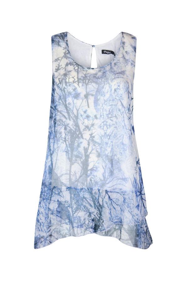 Sleeveless Chiffon Blouse with Keyhole Back, Blue, original image number 0