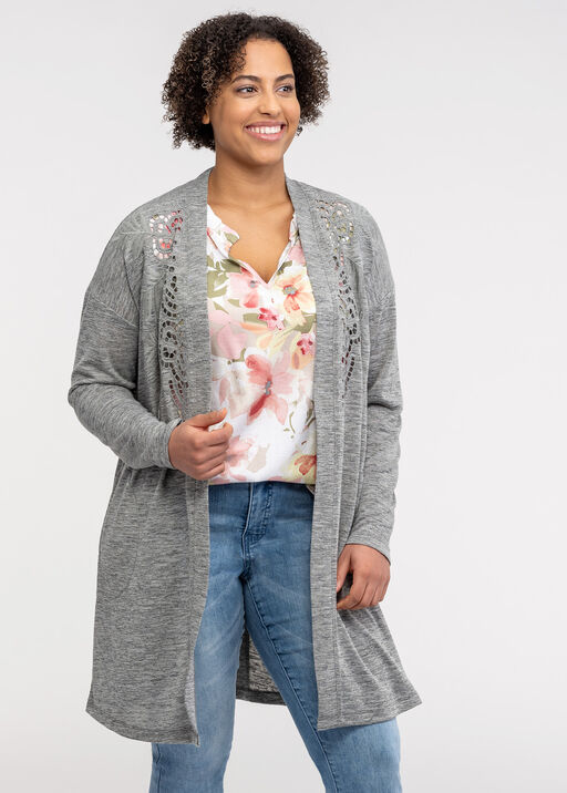 Cardigan with Embroidered Cut Outs, Green, original