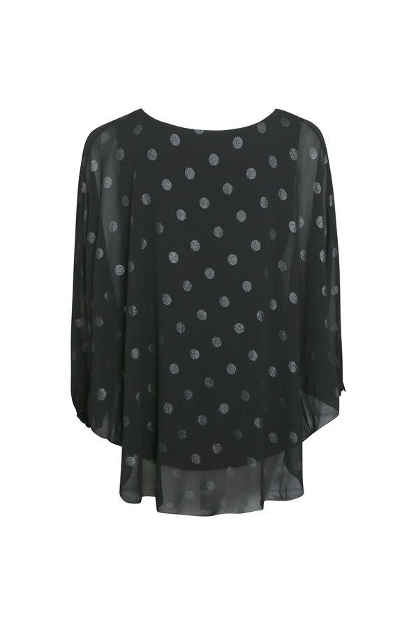 Poncho Polka Dot Blouse, Black, original image number 1