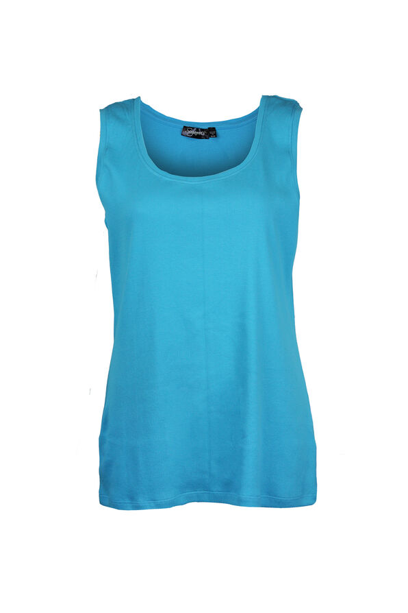 Ribbed Scoop Neck Sleeveless Top, , original image number 0