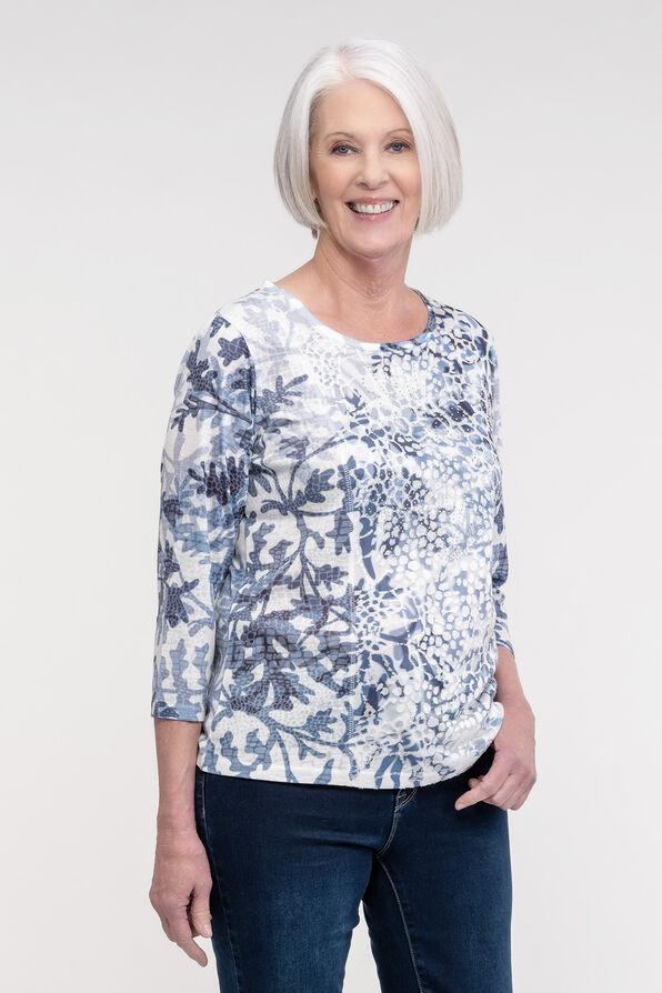 Burnout Top with Jewel Embellished Front, Blue, original image number 0