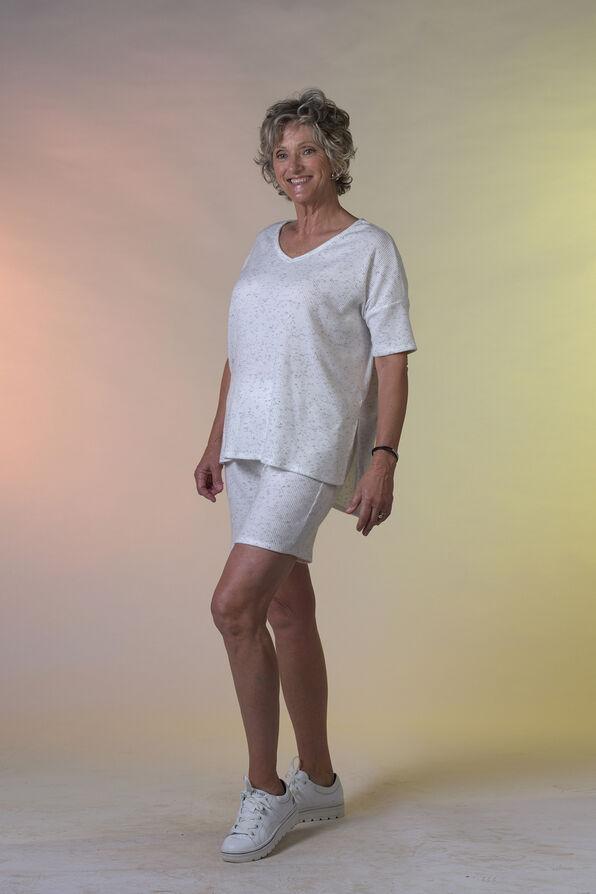 Short Sleeve Ribbed Knit V-Neck Shirt, Ivory, original image number 0