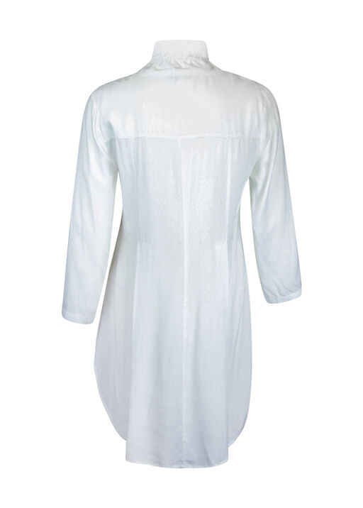 Button Front 3/4 Sleeve Top with Ruffle Neck and HiLo Hem, White, original