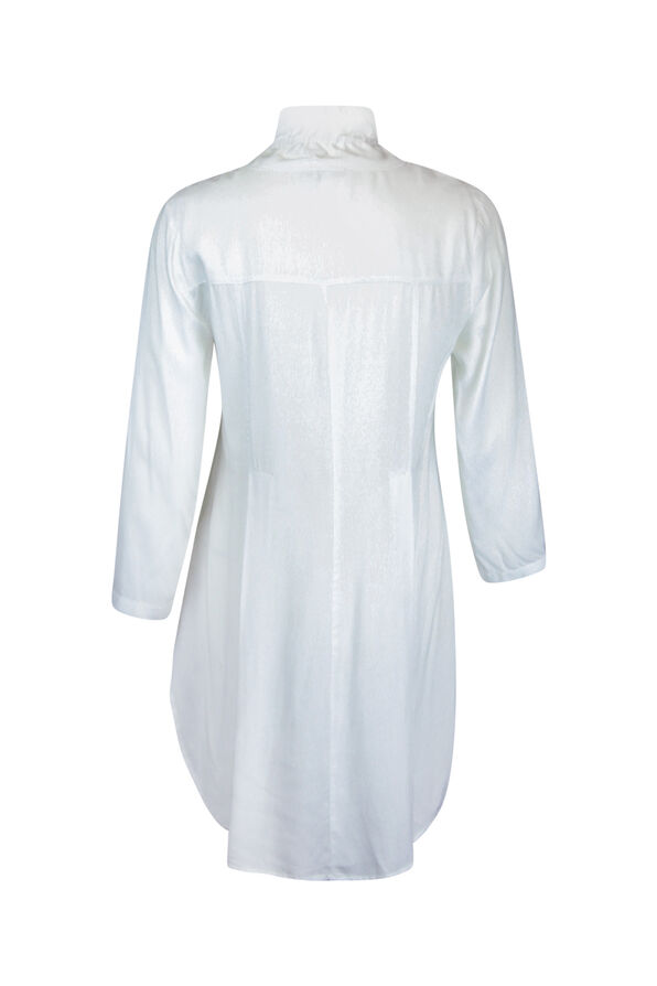 Button Front 3/4 Sleeve Top with Ruffle Neck and HiLo Hem, White, original image number 1