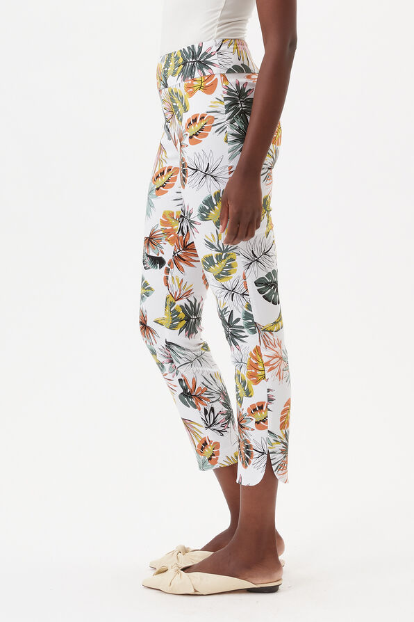 UP! Tummy Control Printed Ankle Pant, White, original image number 2