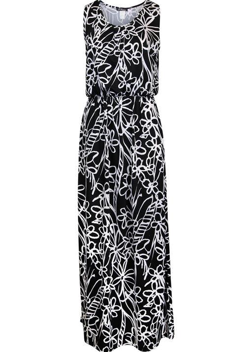 Sleeveless Maxi Dress with Gathered Waist, Black, original