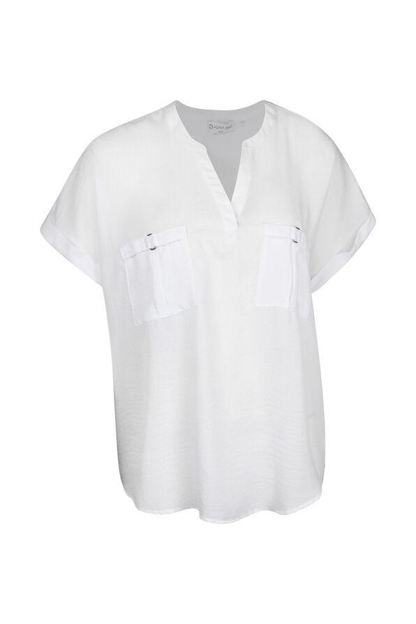 Split Neck Cap Sleeve Blouse, , original image number 2