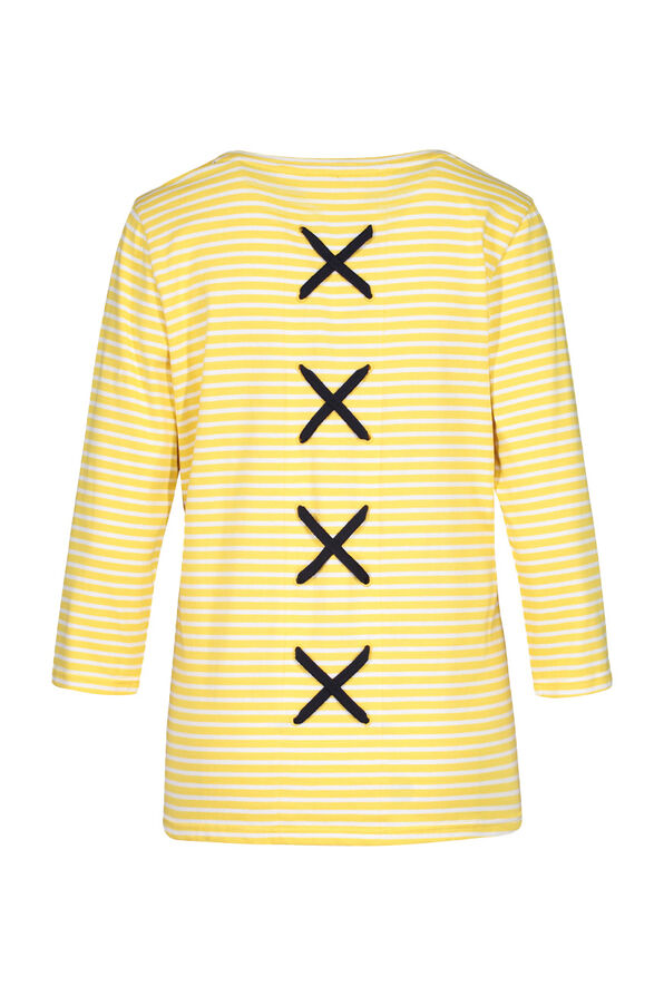 Striped 3/4 Sleeve Top With Criss Cross Back, Yellow, original image number 2