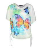 Butterfly Print Overlay Top with Side Ties, Multi, original image number 0