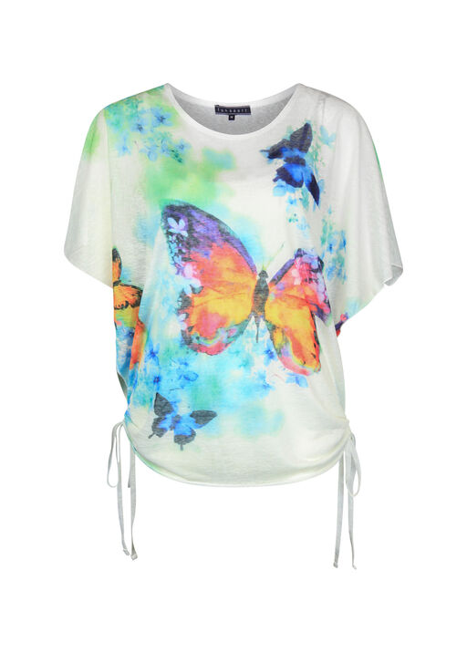 Butterfly Print Overlay Top with Side Ties, Multi, original