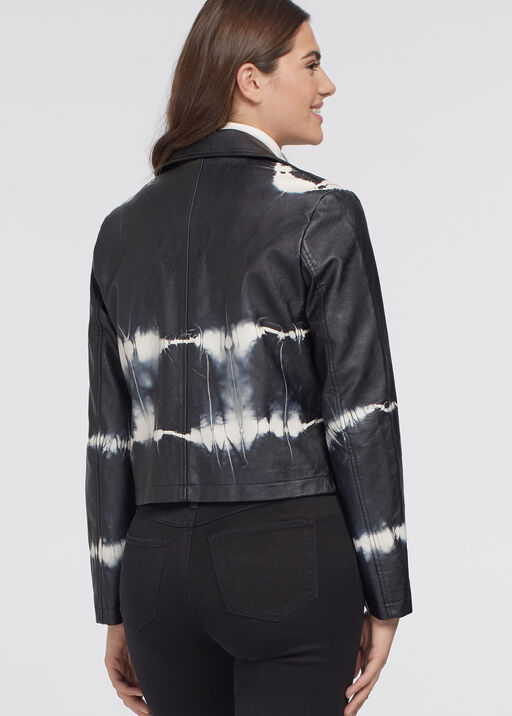 Tie-Dye Leather Biker Jacket, Black, original