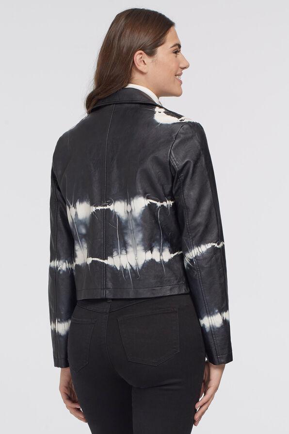 Tie-Dye Leather Biker Jacket, Black, original image number 1