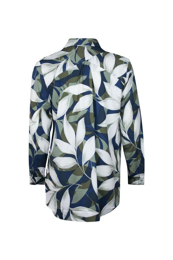 Geo Leaf Print Long Sleeve Blouse, Green, original image number 1