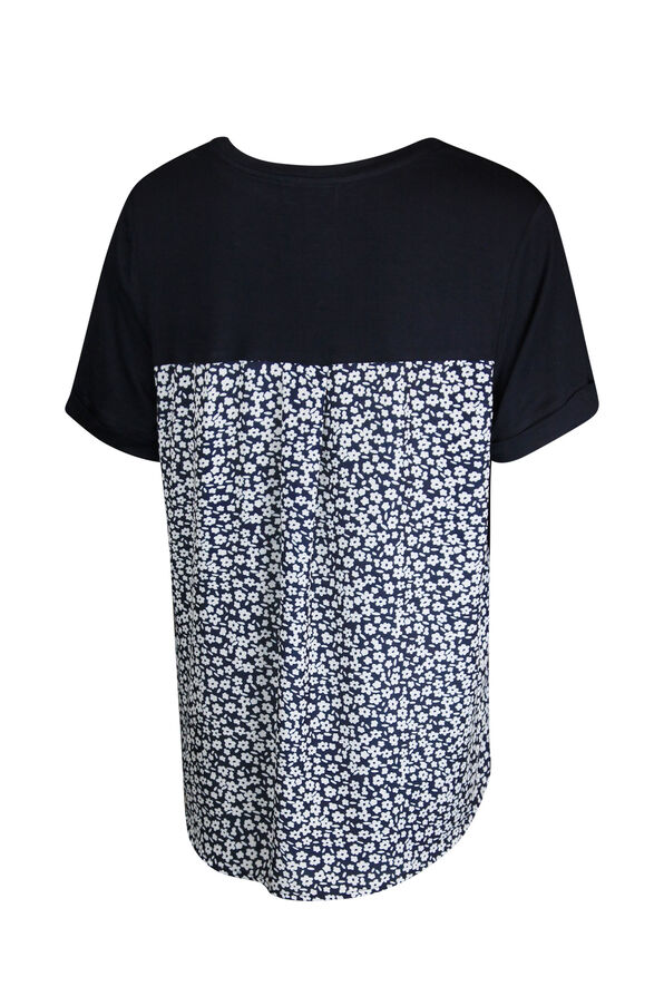 Rolled Cuff Short Sleeve T-Shirt with Floral Back, Navy, original image number 1