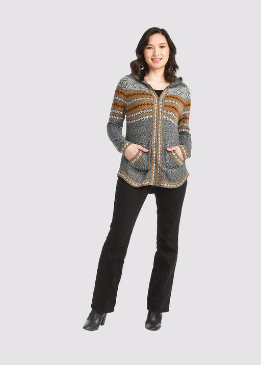 Cabin-Chic Sweater Hoodie , Grey, original