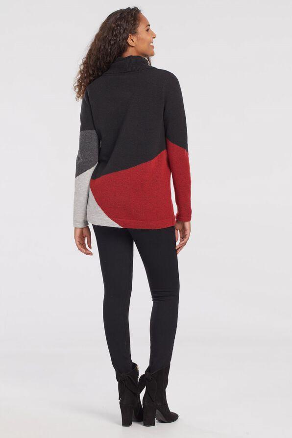 Talia Colour Block Sweater, Red, original image number 3