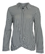 Knotted Houndstooth Button Front, Black, original image number 0