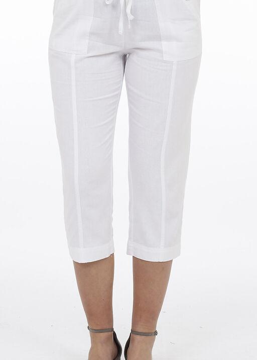 Wide Leg Linen Capri Pant, , original