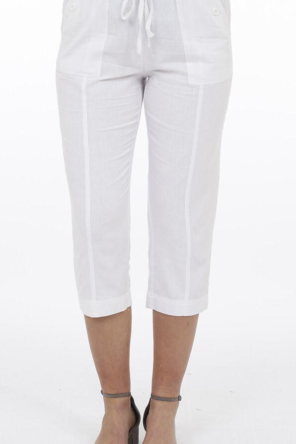Wide Leg Linen Capri Pant, , original image number 1
