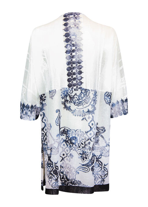 Burnout Kimono with Border Print 3/4 Sleeves, White, original