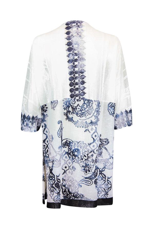 Burnout Kimono with Border Print 3/4 Sleeves, White, original image number 1