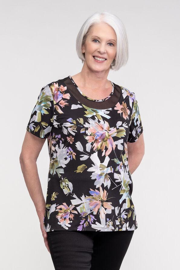 Floral Print Mesh Accent Neckline Short Sleeve, Black, original image number 0