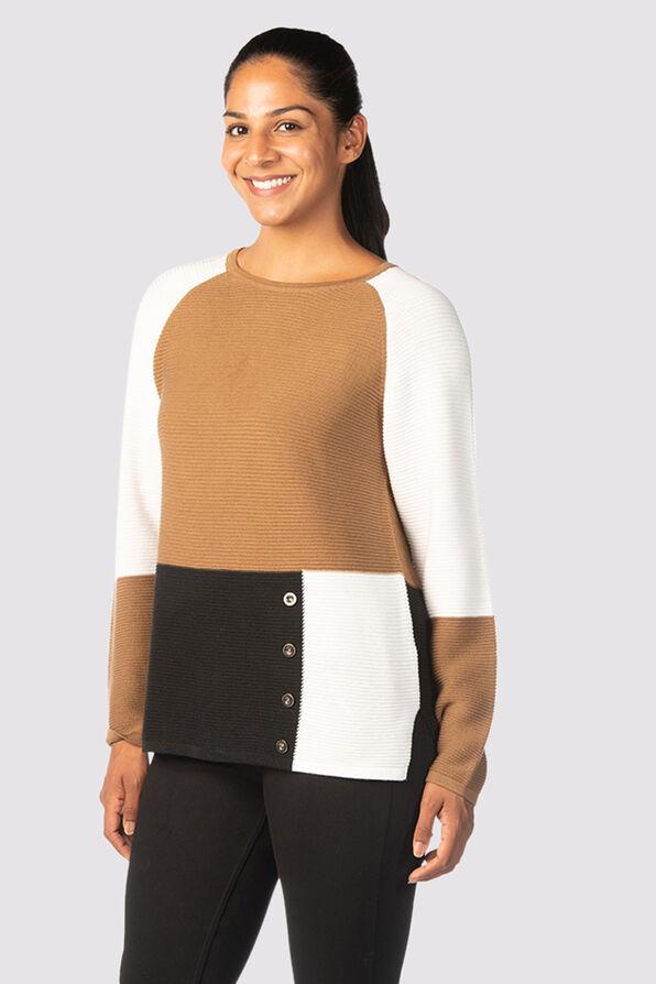 Vosh Colorblock Sweater, Tan, original image number 2