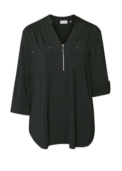 Modern V-Neck with Zipper Blouse, , original
