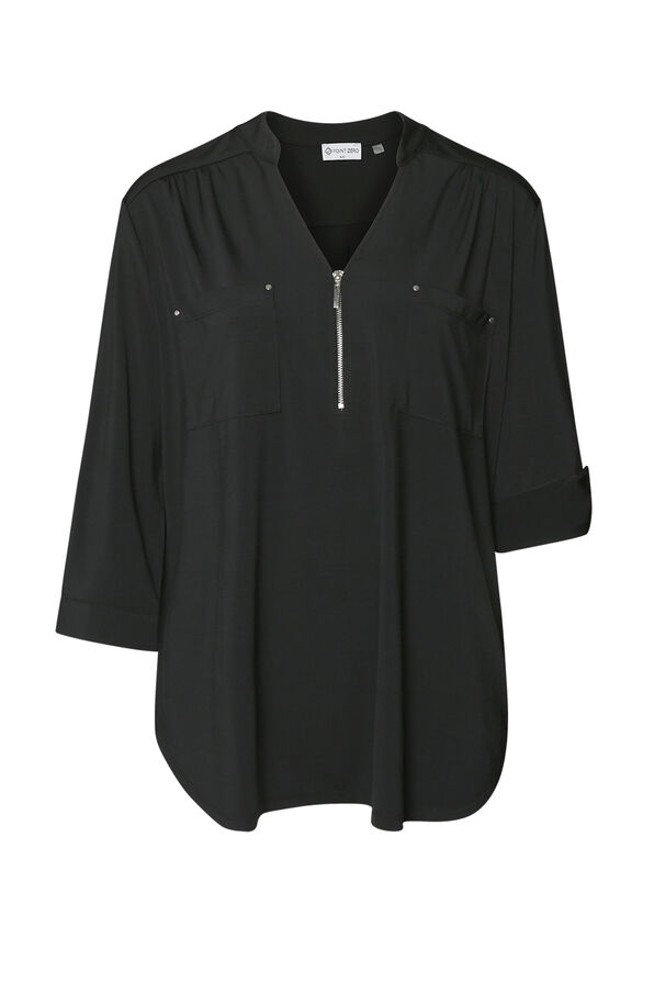 Modern V-Neck with Zipper Blouse, , original image number 1