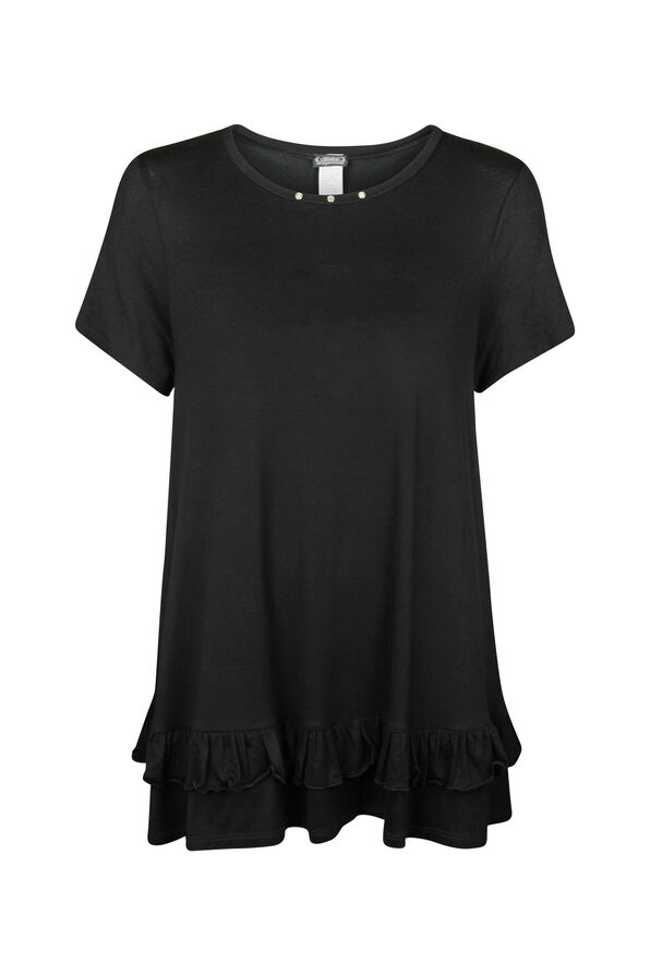 Bling Ruffle Hem Short Sleeve Shirt, Black, original image number 0