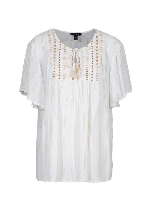 Flutter Sleeve Peasant Blouse With Tassels, White, original
