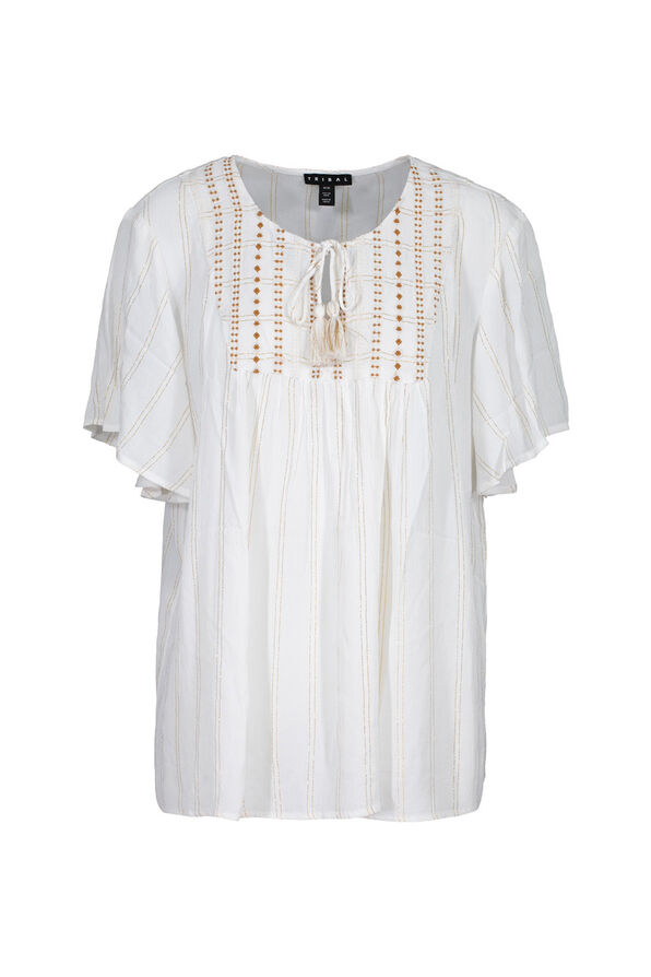 Flutter Sleeve Peasant Blouse With Tassels, White, original image number 0