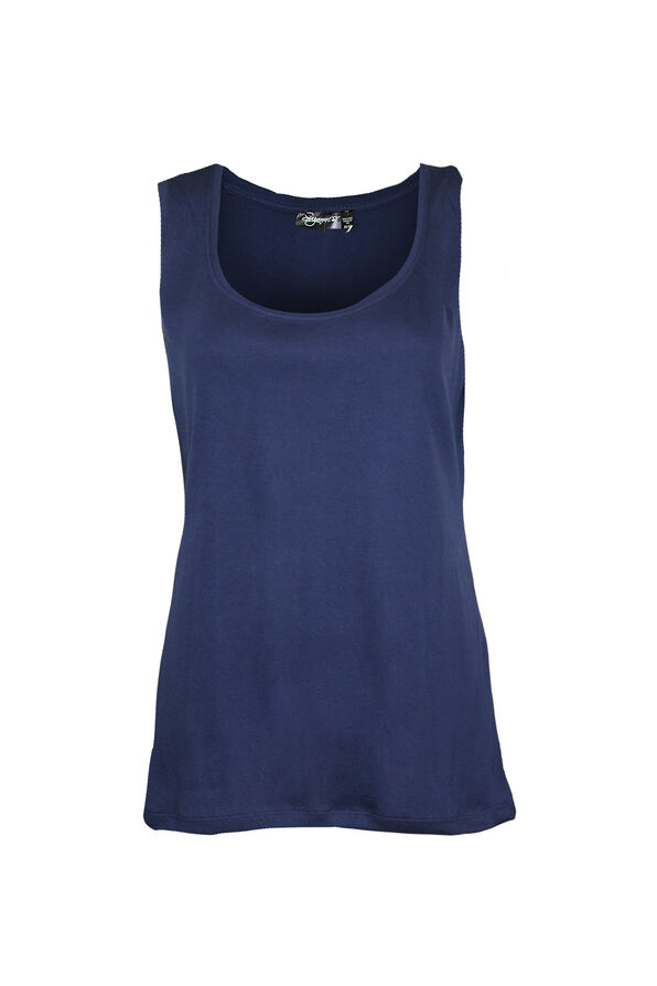 Ribbed Scoop Neck Sleeveless Top, , original image number 2