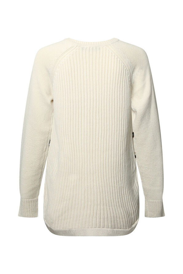 Cable Knit Sweater with Side Button, White, original image number 1