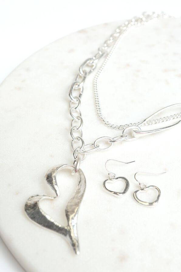 Chain Link Heart Necklace Set, Silver, original image number 1