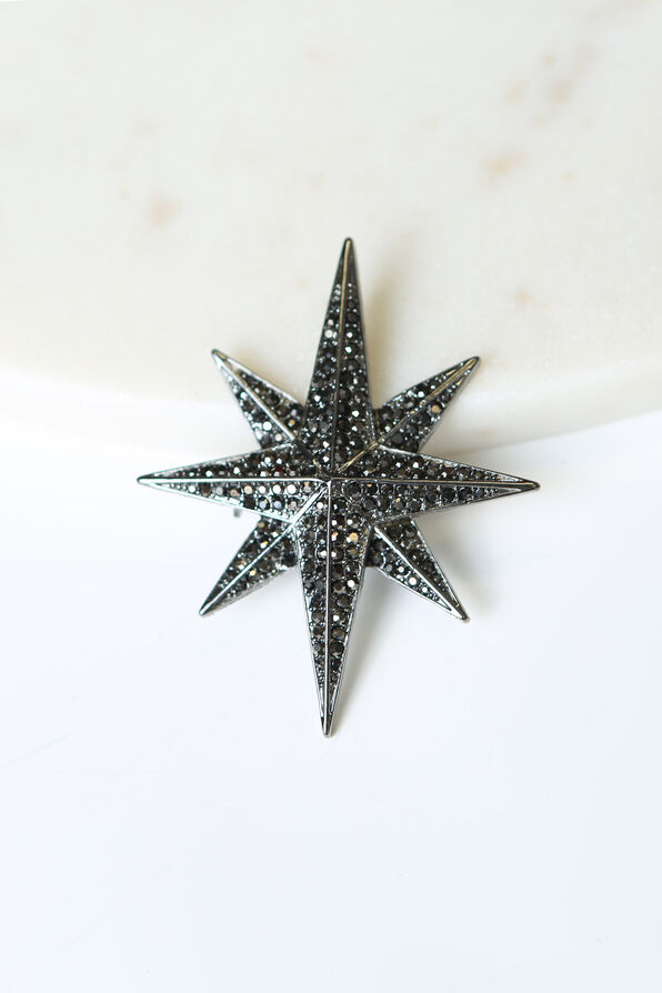 Eight Pointed Star Brooch , Black, original image number 0