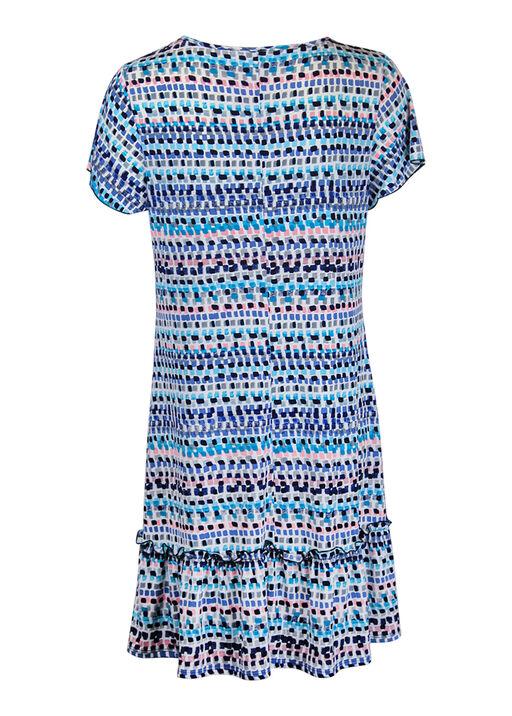 Keyhole Neckline Ruffle Hem Shift Dress , Blue, original