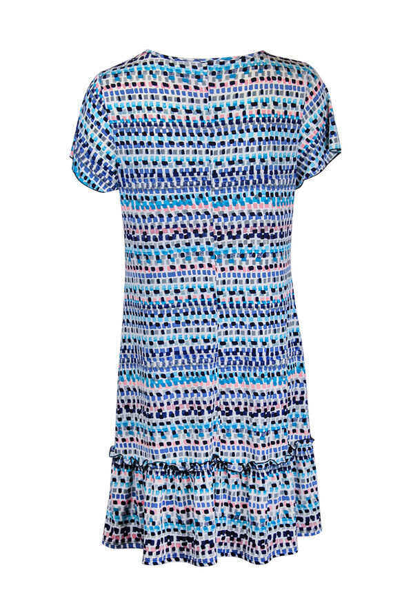 Keyhole Neckline Ruffle Hem Shift Dress , Blue, original image number 1