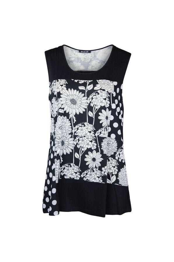 Floral and Polka Dot Sleeveless Top, Black, original image number 2