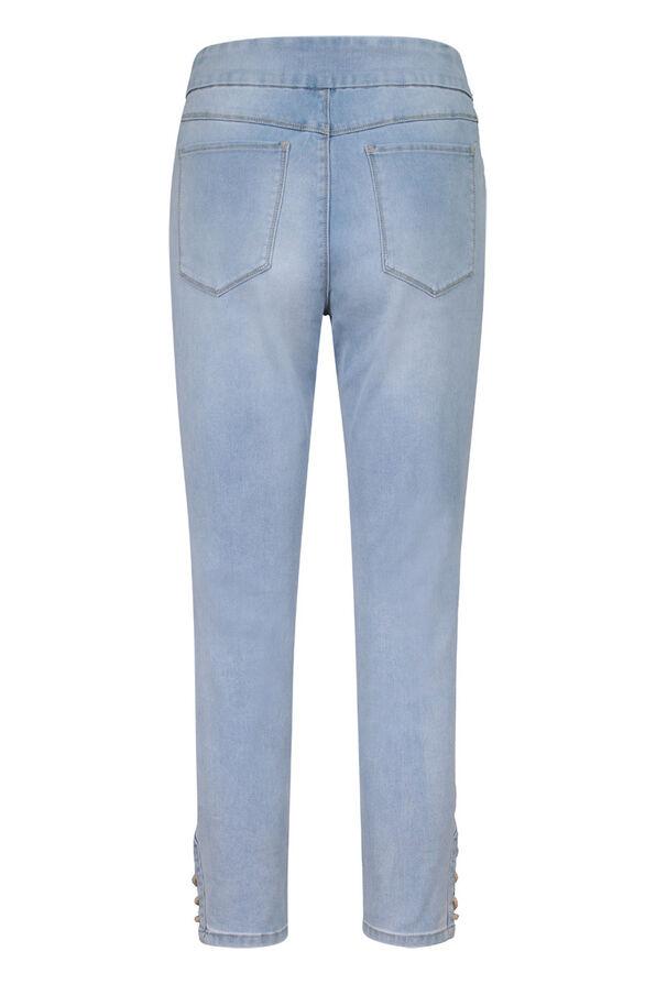Audrey Denim Ankle Pant with Laced Detail, Blue, original image number 1