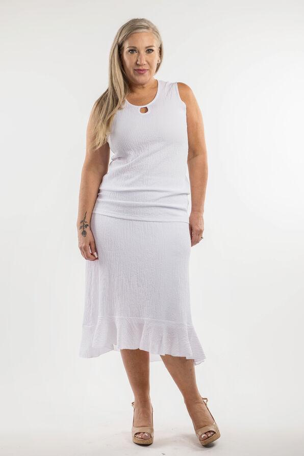 Ruffle Hi-Lo Skirt, White, original image number 2