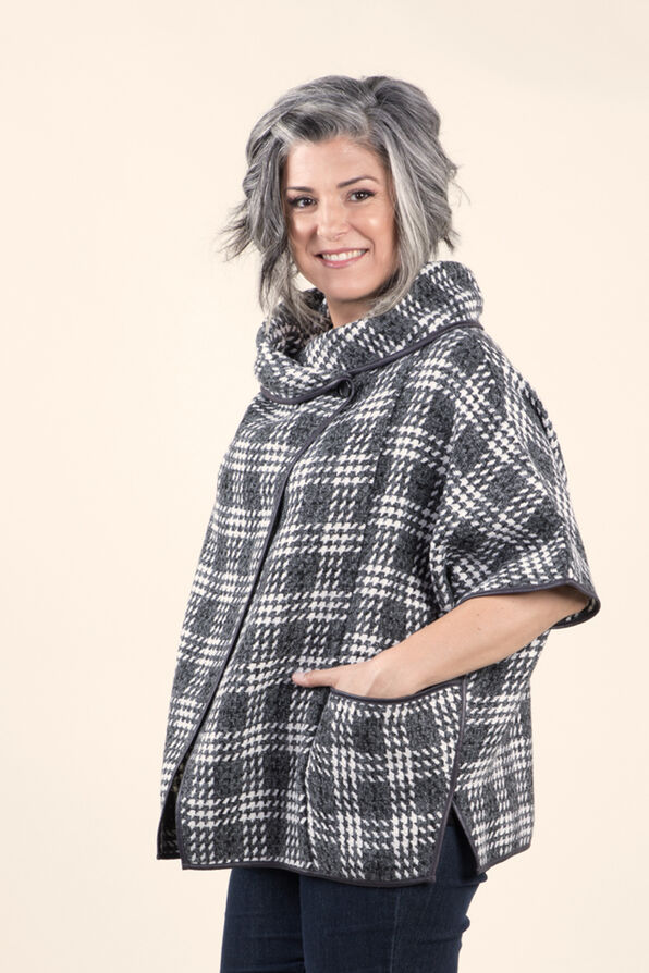 Plaid Poncho with Pleather trim, Charcoal, original image number 2